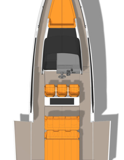 Sunbed with side terraces open